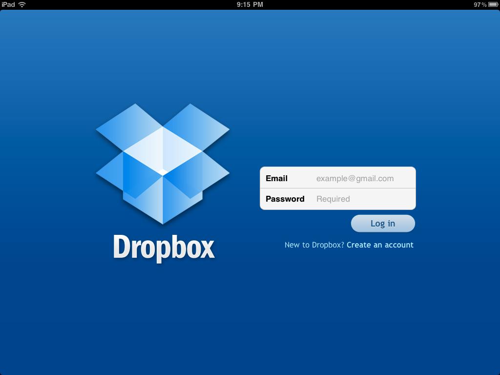 The Dropbox Ipad Login Screen